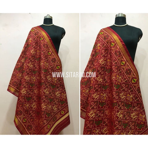 Patola Dupatta-Single Ikkat-Pattu-Multicolor-Sitarini-SITPAD159