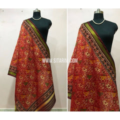 Patola Dupatta-Single Ikkat-Pattu-Multicolor-Sitarini-SITPAD173