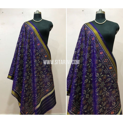 Patola Dupatta-Single Ikkat-Pattu-Purple-Sitarini-SITPAD169