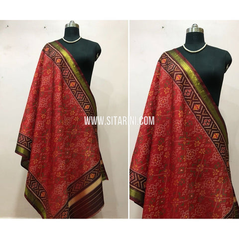 Patola Dupatta-Single Ikkat-Pattu-Red and Maroon-Sitarini-SITPAD165