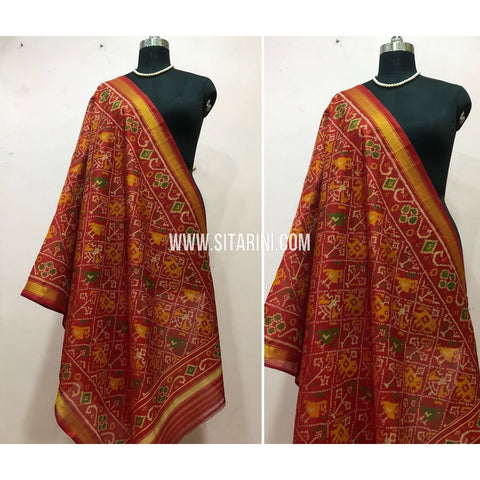 Patola Dupatta-Single Ikkat-Pattu-Red-Sitarini-SITPAD150