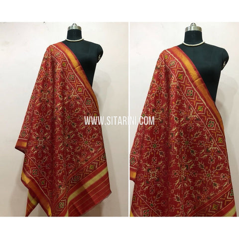 Patola Dupatta-Single Ikkat-Pattu-Red-Sitarini-SITPAD158