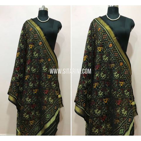 Patola Dupatta-Single Ikkat-Silk-Black-Sitarini-SITPAD104
