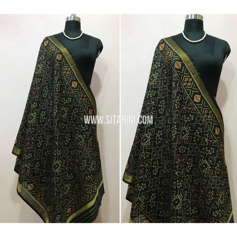 Patola Dupatta-Single Ikkat-Silk-Black-Sitarini-SITPAD106