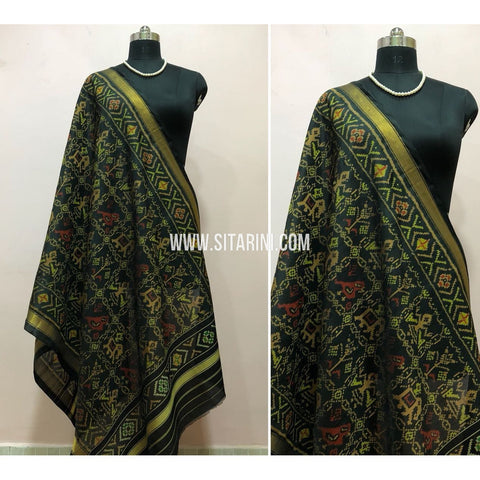 Patola Dupatta-Single Ikkat-Silk-Black-Sitarini-SITPAD119