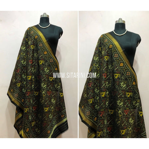 Patola Dupatta-Single Ikkat-Silk-Black-Sitarini-SITPAD129