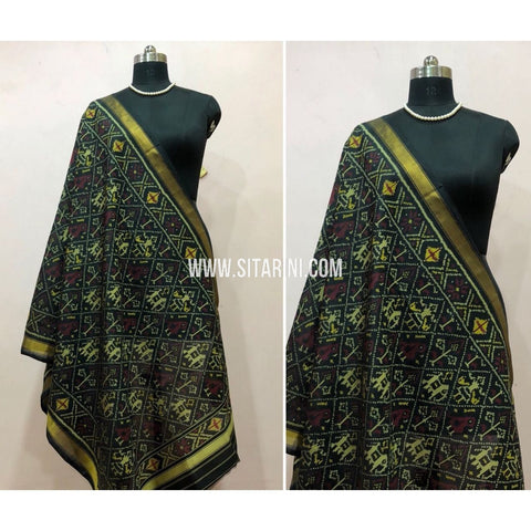 Patola Dupatta-Single Ikkat-Silk-Black-Sitarini-SITPAD137