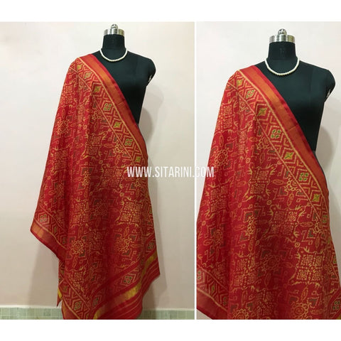 Patola Dupatta-Single Ikkat-Silk-Red-Sitarini-SITPAD110