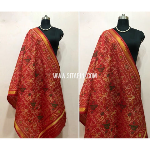 Patola Dupatta-Single Ikkat-Silk-Red-Sitarini-SITPAD131