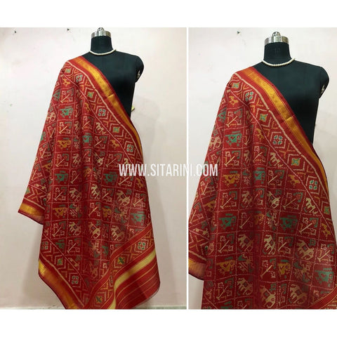Patola Dupatta-Single Ikkat-Silk-Red-Sitarini-SITPAD133
