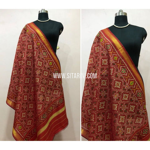 Patola Dupatta-Single Ikkat-Silk-Red-Sitarini-SITPAD138