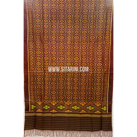 Patola Silk Dupattas-Single Ikkat-Brown-Sitarini-RSPNPSD135