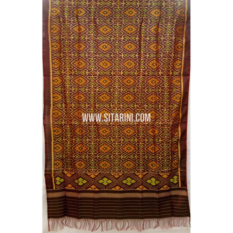 Patola Silk Dupattas-Single Ikkat-Brown-Sitarini-RSPNPSD136
