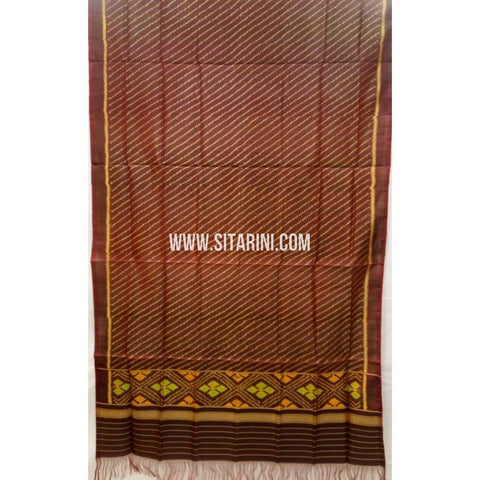 Patola Silk Dupattas-Single Ikkat-Brown-Sitarini-RSPNPSD138