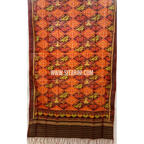 Patola Silk Dupattas-Single Ikkat-Brown-Sitarini-RSPNPSD139