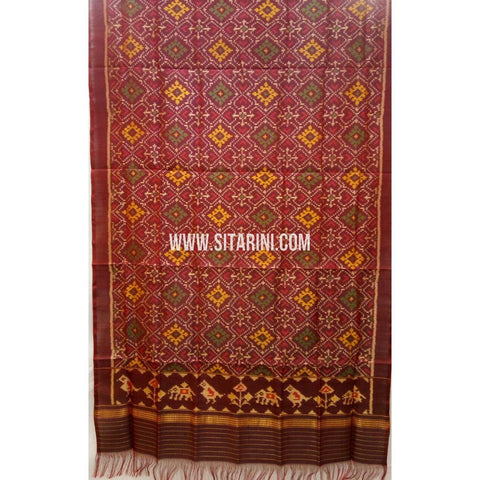 Patola Silk Dupattas-Single Ikkat-Brown-Sitarini-RSPNPSD141