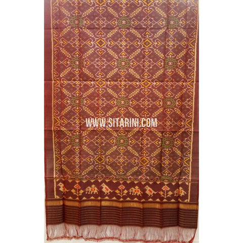 Patola Silk Dupattas-Single Ikkat-Brown-Sitarini-RSPNPSD142