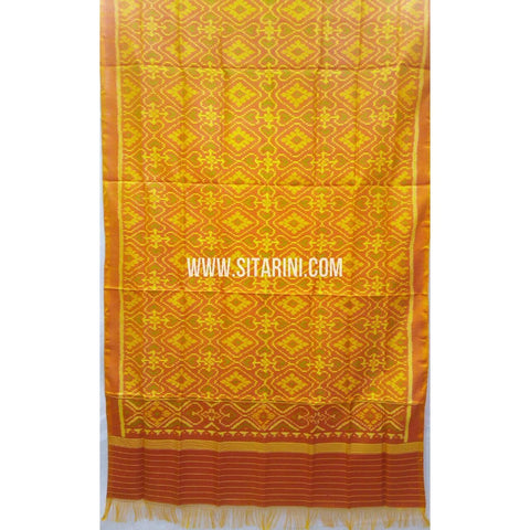 Patola Silk Dupattas-Single Ikkat-Dark Yellow-Sitarini-RSPNPSD156