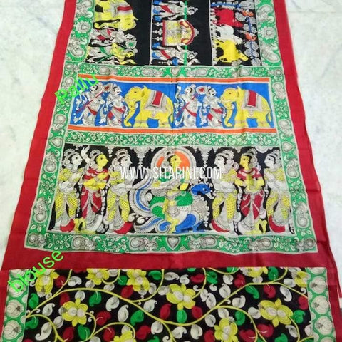 Pen Kalamkari Cotton Saree-Multicolor-Sitarini-SITKACS139