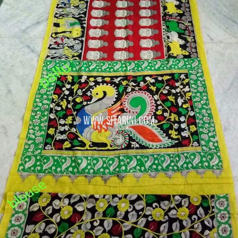 Pen Kalamkari Cotton Saree-Multicolor-Sitarini-SITKACS140
