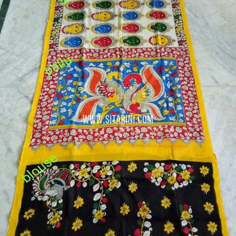 Pen Kalamkari Cotton Saree-Multicolor-Sitarini-SITKACS141