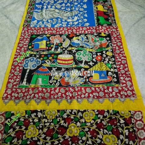 Pen Kalamkari Cotton Saree-Multicolor-Sitarini-SITKACS143