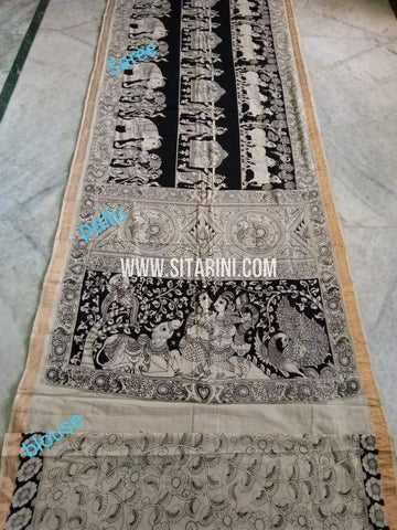 Pen Kalamkari Saree-Cotton-Sitarini-SITKACS177