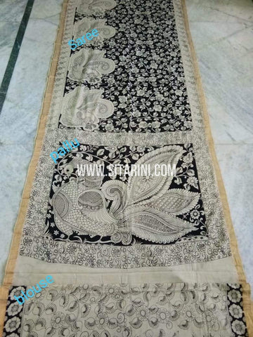 Pen Kalamkari Saree-Cotton-Sitarini-SITKACS178