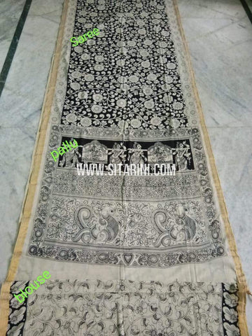 Pen Kalamkari Saree-Cotton-Sitarini-SITKACS179