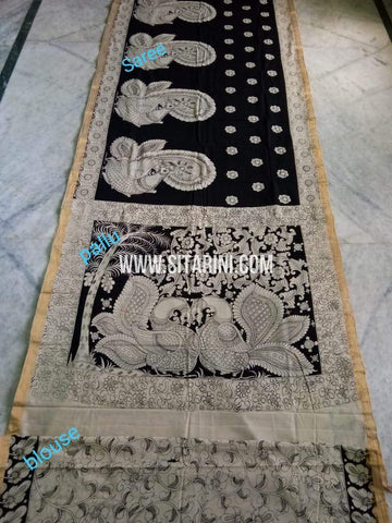 Pen Kalamkari Saree-Cotton-Sitarini-SITKACS180
