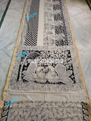 Pen Kalamkari Saree-Cotton-Sitarini-SITKACS183