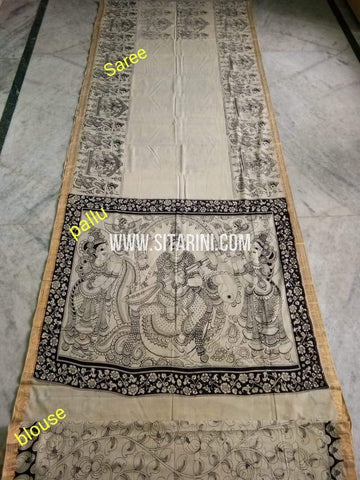Pen Kalamkari Saree-Cotton-Sitarini-SITKACS184