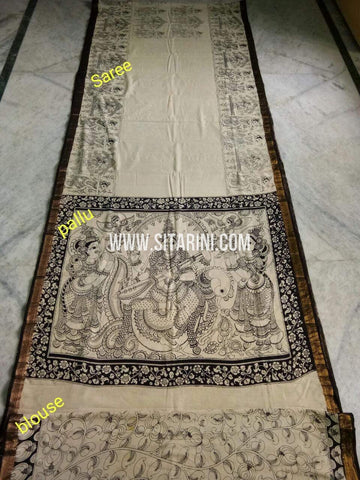 Pen Kalamkari Saree-Cotton-Sitarini-SITKACS185
