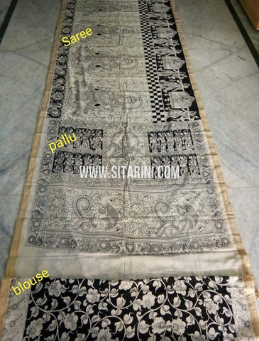 Pen Kalamkari Saree-Cotton-Sitarini-SITKACS186
