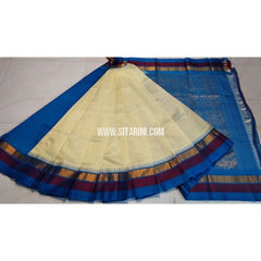 Plain Kuppadam Saree-Ivory and Royal Blue-Sitarini-UMKHKPPS109