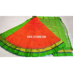 Plain Kuppadam Saree-Orange and Parrot Green-Sitarini-UMKHKPPS107