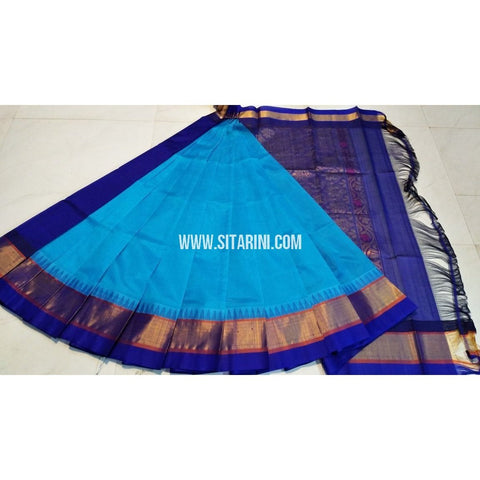 Plain Kuppadam Saree-Sky Blue and Royal Blue-Sitarini-UMKHKPPS106