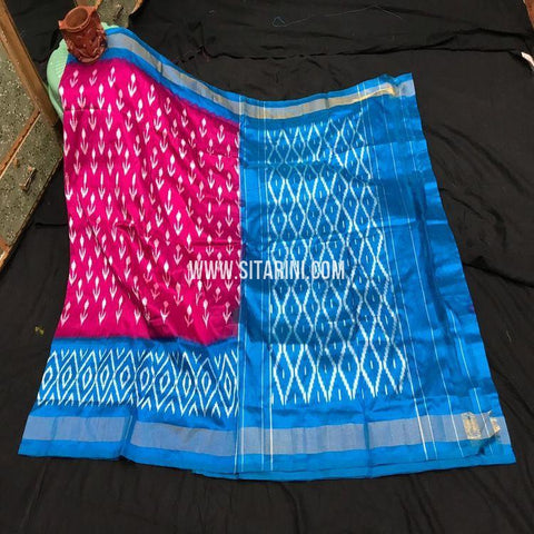 Pochampalli Light Weight Saree-Silk-Magenta-Sitarini-SITIPS993