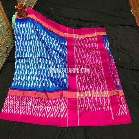 Pochampalli Silk Light Weight Saree-Blue-Sitarini-SITIPS967