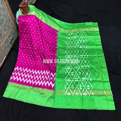 Pochampalli Silk Light Weight Saree-Magenta-Sitarini-SITIPS994