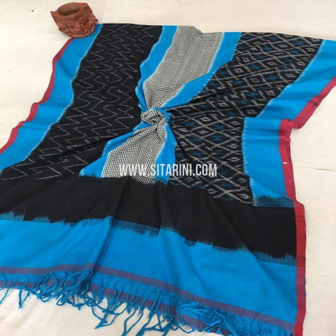 Pochampally Cotton Dupatta-Multicolor-Sitarini-SITICD161