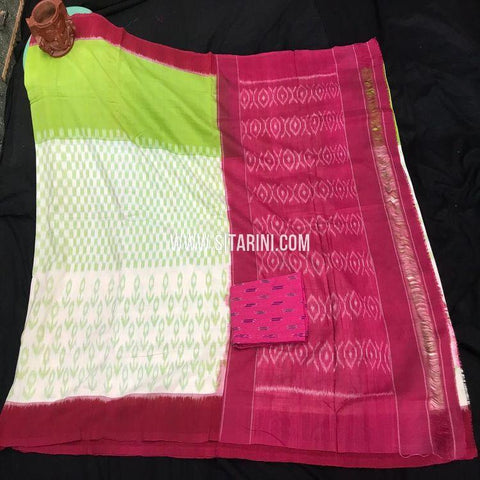 Pochampally Cotton Saree-Multicolor-Sitarini-SITICS406