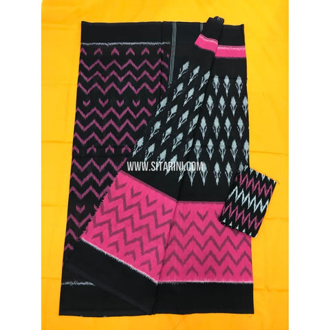 Pochampally Cotton Sarees-Mercerised-Black and Pink-Sitarini-PGMHICS114
