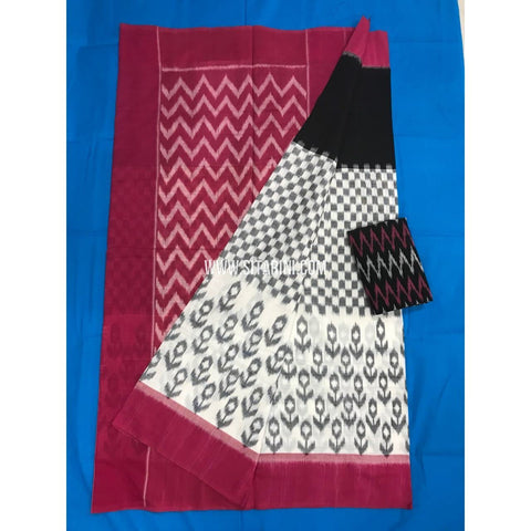 Pochampally Cotton Sarees-Mercerised-Black and White-Sitarini-PGMHICS122