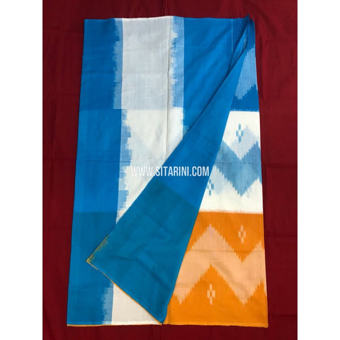 Pochampally Cotton Sarees-Mercerised-Light Blue and Yellow-Sitarini-PGMHICS124