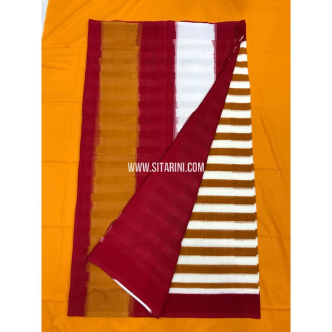 Pochampally Cotton Sarees-Mercerised-Red and White-Sitarini-PGMHICS112