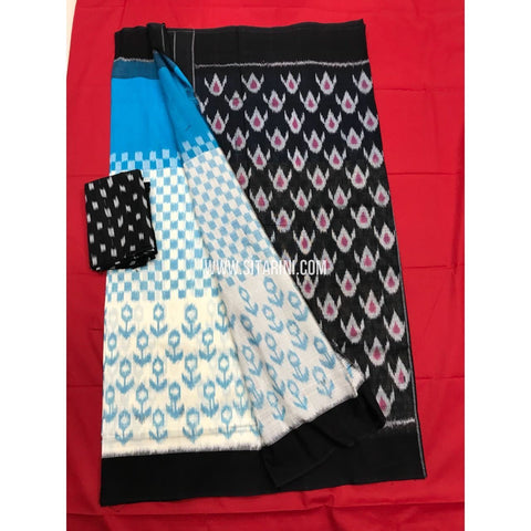 Pochampally Cotton Sarees-Mercerised-Sky Blue and White-Sitarini-PGMHICS118