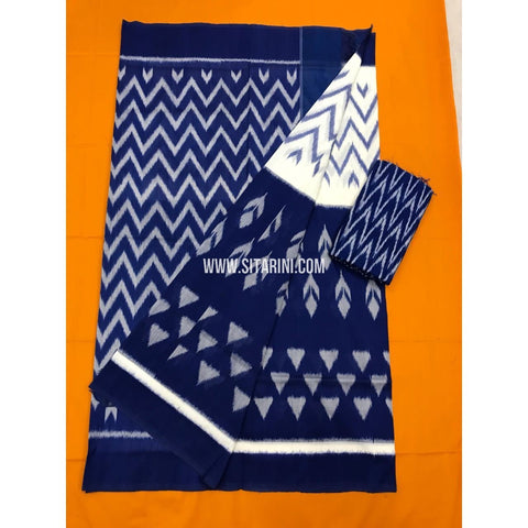 Pochampally Cotton Sarees-Mercerised-White and Blue-Sitarini-PGMHICS115