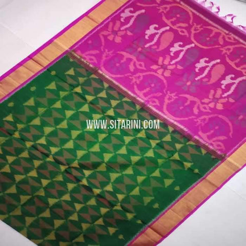 Pochampally Cotton Silk Saree-Multicolor-Sitarini-SITISCS111
