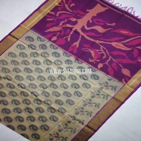 Pochampally Cotton Silk Saree-Multicolor-Sitarini-SITISCS112
